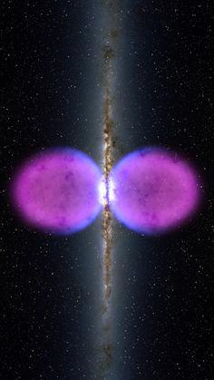 Nuevas estructuras que se encuentran en la Vía Láctea - Un Agujero Negro y rsquo; s Erupción NASA y rsquo; s telescopio espacial de rayos gamma Fermi ha dado a conocer una estructura inédita centrada en la Vía Láctea.  La característica se extiende por 50.000 años luz y puede ser el remanente de una erupción de un agujero negro tamaño gigante en el centro de nuestra galaxia.  Y ldquo; Lo que vemos son dos burbujas de rayos gamma que emiten que se extienden a 25.000 años luz de norte y sur…