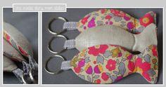 porte clé-Liberty-betsy fluo thé-lin irisé-poisson-personnalisable