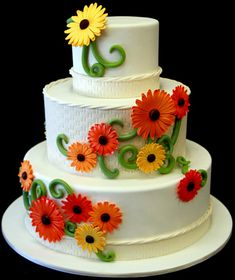 Gerber Daisy Wedding Cake by Pink Cake Box