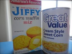 Quickie Cornbread: Jiffy box mix + cream style sweet corn...bake and then drizzle with honey...sounds delicious!