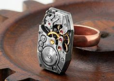 Steampunk Ring  Copper & Vintage Watch Mechanism  by ClosetGothic, $65.00