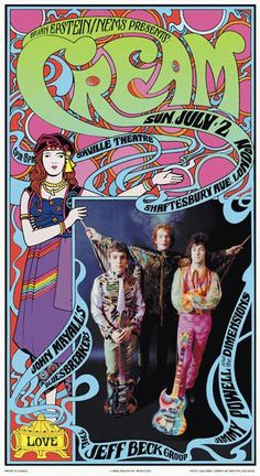 Concert poster for Cream commemorating the 1967 Saville Theatre concert. 13 x 24 on card stock. Band Posters, Rock Posters, Event Posters, Psychedelic Music, Psychedelic Posters, Hippie Posters, Vintage Concert Posters, Kino, Rock Concert