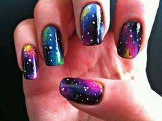 galaxy nail art on Nails Mania Fingernail Designs, Cool Nail Designs, Sinful Colors, Hot Nails, Hair And Nails, Fancy Nails, Pretty Nails, Galaxy Nails Tutorial, Galaxy Nail Art