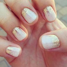 wedding nails, blush, gold, sparkle, simple