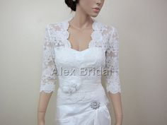 Ivory 3/4 sleeve Front open Alencon Lace bolero jacket Bridal Bolero Wedding jacket wedding bolero