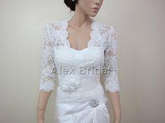 Elfenbein Lace Jacke Bolero Hochzeit Bridal Jacke von alexbridal