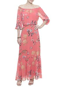 Vestido Longo Crepe Floral Avalon