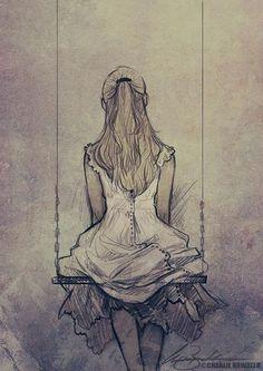 Gorrrrrrgeous. Gorgeous, pretty, elegant, drawing idea. Girl / woman on a swing sketch.-Birdy