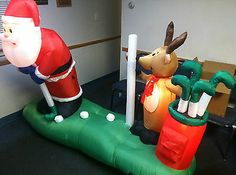 Golfing Santa Prototype Animated Airblown Inflatable Outdoor Christmas Decor | eBay