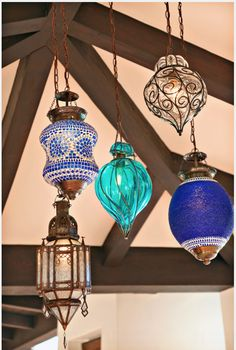 Mosaic glass lamps; Morrocan glass lamps; Morrocan large candle holders Unique lighting- Find at De-cor!!