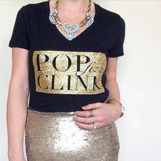 Pop Fizz Clink Glitter Edition Champagne Graphic Tee Print T Shirt