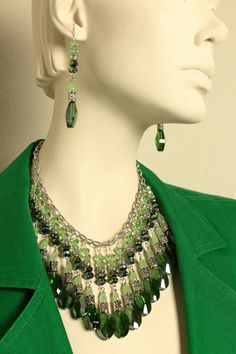 Handmade gem drenched emerald bib statement necklace/Emerald green and lght peridot green bib statement necklace with antique silver accents