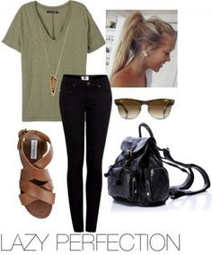 Black jeans, t-short and sunglasses.