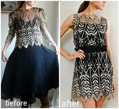 Let Trash To Couture inspire you with this 80's-Outfit-to-Lace-Cocktail-Dress refashion. Oooo @Anna Totten Deis, let's go to the Bargain barn again and find some ridiculous clothes to remake! I cannot wait to have crafty sleepovers again!