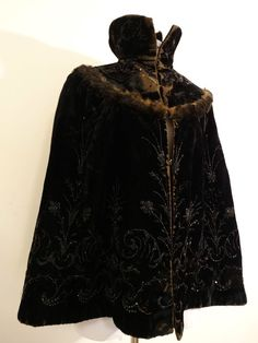 Antique 1800's Victorian Black Velvet Fur Embroidered Beaded Cape Coat Jacket  #Unbranded