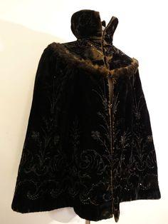 Antique 1800's Victorian Black Velvet Fur Embroidered Beaded Cape Coat Jacket  #Unbranded