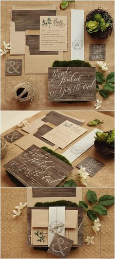 Rustic Wedding Invitation Set - Wood & Kraft Wedding Invite Suite for a Country Barn Wedding - Printable - Printed