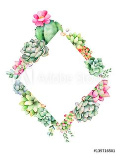 Colorful floral rhombus frame border with leaves,succulent plant,branche and cactus.World of succulents and cactus collection. Succulents Wallpaper, Succulents Drawing, Planting Succulents, Succulent Frame, Succulent Wreath, Cactus Backgrounds, Wedding Quote, Wreath Drawing, Watercolor Illustration