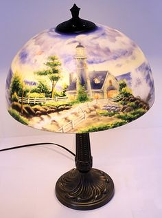 63 Pittsburgh Reverse Painted Lamp On Vintage Lighting