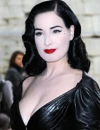 Floorless Dita Von Teese, 1940's inspired hair and make up can bring out the best results for a Gothic look when doing make up research early 1920's 1940's make up to create best results.