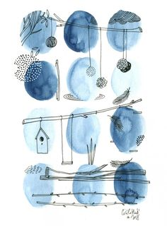 The seed balls are more often hung gray than wheat on a sky background … The post The seed balls are on a sky background … appeared first on Woman Casual - Drawing Ideas Watercolor And Ink, Watercolor Illustration, Watercolour Painting, Watercolor Flowers, Painting & Drawing, Watercolors, Drawing Sky, Blue Painting, Watercolor Design