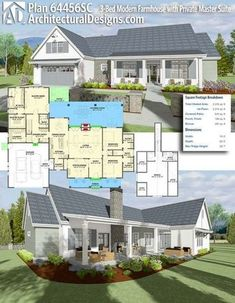 Architectural Designs House Plan 64456SC is a farmhouse with over 2,500+ sq. ft of heated living space. Ready when you are. Where do YOU want to build? #64456sc #adhouseplans #architecturaldesigns #houseplan #architecture #newhome #newconstruction #newhouse #homedesign #dreamhome #dreamhouse #homeplan #architecture #architect #housegoals #Modernfarmhouse #Farmhousestyle