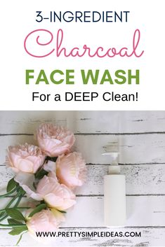 3-Ingredient DIY Charcoal Face Wash (With Rose!) - Pretty Simple Ideas This super simple homemade cleanser will deep clean your pores and it smells great too! Make it today! #diy