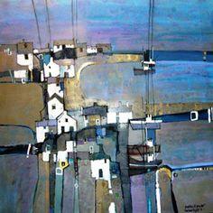 Harbour Lights by Martin Proctor Contemporary Landscape, Landscape Art, Landscape Paintings, Abstract Watercolor, Abstract Art, Watercolour, Building Art, Paintings I Love, Oeuvre D'art