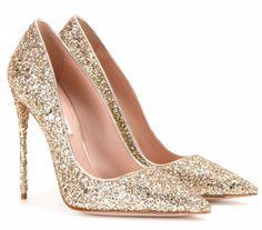 Miu Miu golden glitter party pumps