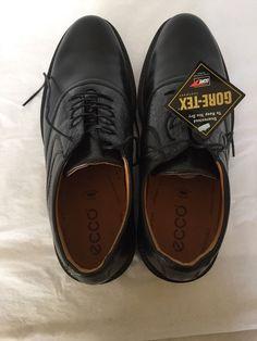 e61ad1c1721 Mens Ecco Golf Shoes Sz 12 Black Leather World Class Gore Tex Comfort Fiber   Ecco