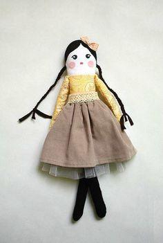 Handmade Rag doll Cloth Doll Vintage style art doll  soft doll ballerina yellow mustard black stuffed doll toy