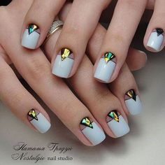 Evening dress nails Evening nails Half-moon nails ideas Ideas of plain nails Medium nails Nails with stickers Shattered glass nails ideas Shellac nails 2017 Best Nail Art Designs, Nail Polish Designs, Nails Design, Beautiful Nail Art, Gorgeous Nails, Blue Nails, White Nails, Nail Art Stripes, Moon Nails