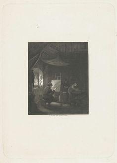 Jan Baptist Tetar van Elven   Schildersatelier, Jan Baptist Tetar van Elven, 1815 - 1889   In een atelier, bij het venster zit een schilder voor zijn ezel. Op de achtergrond twee leerlingen en een slapende hond.