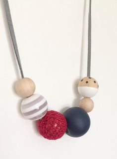 Modern Handpainted Wooden Bead Necklace Red White by MyLittleUsagi, $20.00