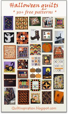 = free patterns = Halloween quilts.  February 2016 at Quilt Inspiration.