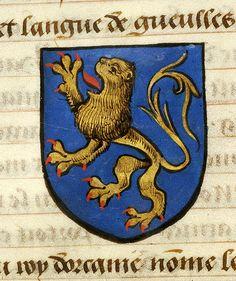 Medieval Manuscript Images, Pierpont Morgan Library, Noms, armes et blasons des chevaliers de la Table Ronde. MS M.16 fol. 10v Urien (azure, lion rampant or, armed and langued gules).