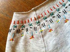 Sewing wool. Cute sweatshirt update.