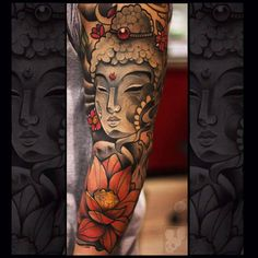 Buddha tattoo sleeve on arm
