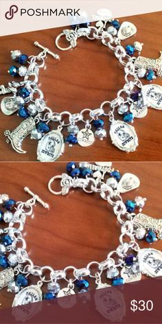 Dallas Cowboys Bracelet Bracelet measures 7 3/4 inches. If you need a different length please let me know to make adjustments. Jewelry Bracelets