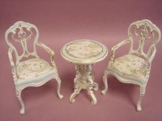Table and Chair Set, Painted Floral