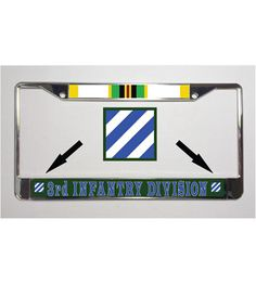 Army 3rd Infantry Cold War Metal License Plate Frame for your car or truck. You will be impressed with how vibrant the colors are on these durable license plate frames. License Plate Frames are brushed with a chrome finish and are designed, printed and assembled in the USA.