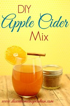 DIY Apple Cider Mix (edited to include traditional cider spices & doubled recipe):   1 tablespoon sugar, 3 tablespoons lemonade mix, such as CountryTime, 2 teaspoons ground cinnamon, 1 teaspoon ground nutmeg, ½ teaspoon ground cloves, ½ ground allspice and 100% apple juice.  Mix dry ingredients together in a jar.  To make the hot cider, just heat up 8 ounces of apple juice and add 1 - 2 teaspoons of the dry mix to the hot apple juice and stir to throughly combine.  Serve and enjoy!