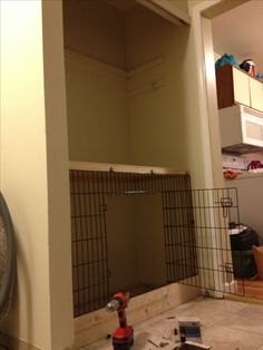 Home made dog crate in closet!