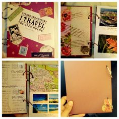 Travel journal: cover two pieces of cardboard and decorate for front and back cover, take postcards, maps, brochures, photos from your trip and tape together. Hole punch and bind with 2 rings. Done!