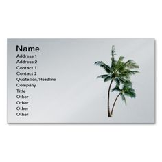 Palm Tree Business Card. This is a fully customizable business card and available on several paper types for your needs. You can upload your own image or use the image as is. Just click this template to get started!