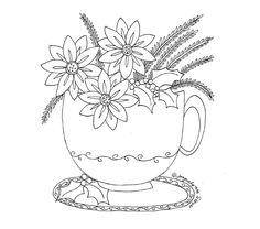 poinsettia teacup embroidery