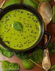 Zupa krem z groszku i szpinaku Raw Food Recipes, Soup Recipes, Healthy Recipes, Vegan Soups, Food Design, Food Inspiration, Food Porn, Good Food, Soups