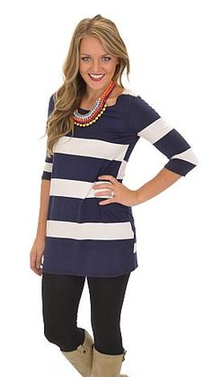Wide Stripe Tunic, Navy :: NEW ARRIVALS :: The Blue Door Boutique