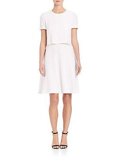 BOSS Dicenda Double-Layer Dress - White - Size