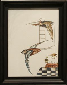 """H. Veng Smith, Flying Home, 2012, Water Color on Paper, 9""""x7"""".....SOLD"""
